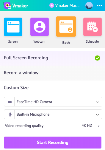Decide on the multiple recording options available on Vmaker for Mac